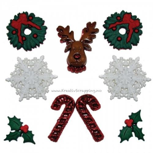BUTTONS - DRESS IT UP JUL 0266 - DECK THE HALLS Pakke med 9 stk. JESSE JAMES-Dress It Up Button Embellishments. Tiny embellishments for adding dimension to all of your scrapbook pages, cards, invitations and craft projects. Button embellishments come in a variety of shapes and sizes and some even feature glitter. Size, shape and number of embellishments per package varies by theme.