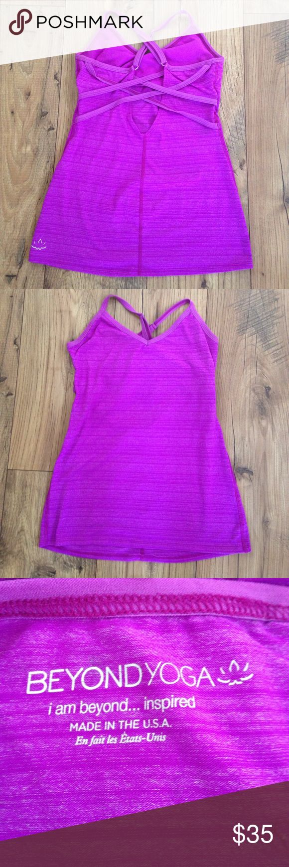 Strappy fuchsia Beyond Yoga tank Very form fitting and had a built in support. Beautiful purple color. Beyond Yoga Tops Tank Tops