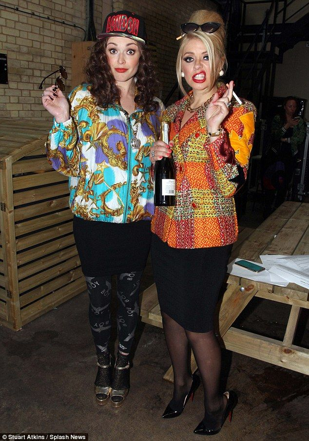 Looking fab:Holly Willoughby and Fearne Cotton arrived at Keith Lemon's Celebrity Juice birthday special as aging PR Edina Monsoon and man-eating sidekick Patsy Stone – respectively played by Jennifer Saunders and Joanna Lumley in nineties sitcom Absolutely Fabulous