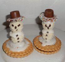 Schneemänner aus Süßigkeiten basteln