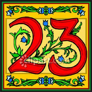 Red Number 23 With Flowers - Royalty Free Clipart Picture