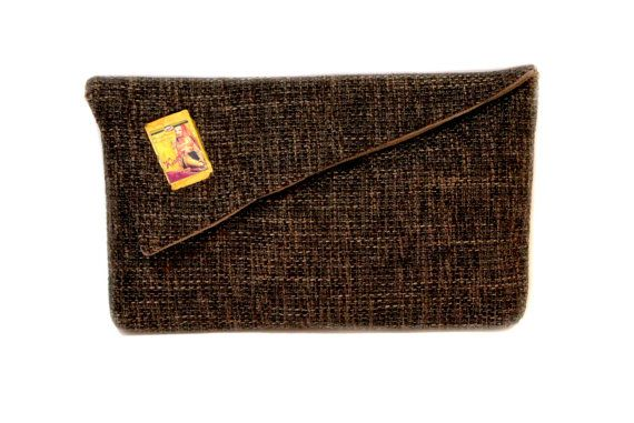 50% off Brown clutch bag with Ronald Colman Joy Page by meerrorart