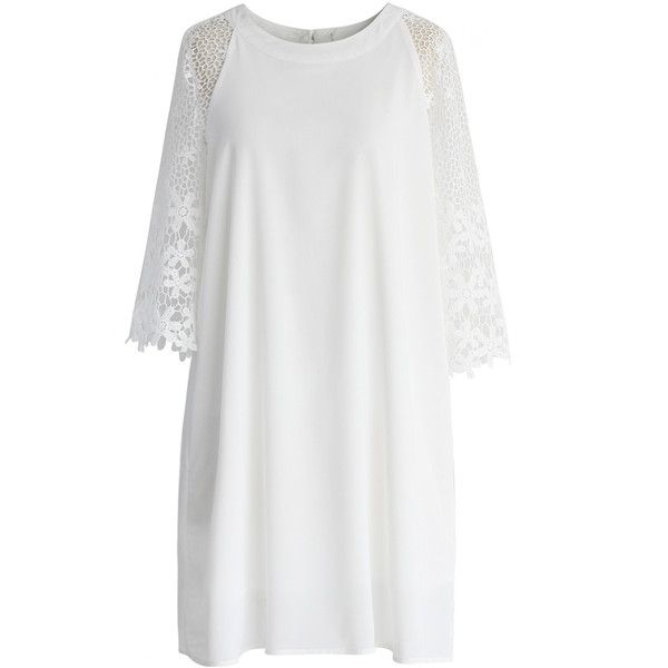 Chicwish Simple White Dress with Crochet Sleeves (62 CAD) ❤ liked on Polyvore featuring dresses, white, crochet dress, cut out sleeve dress, white day dress, macrame dress and sleeve dress
