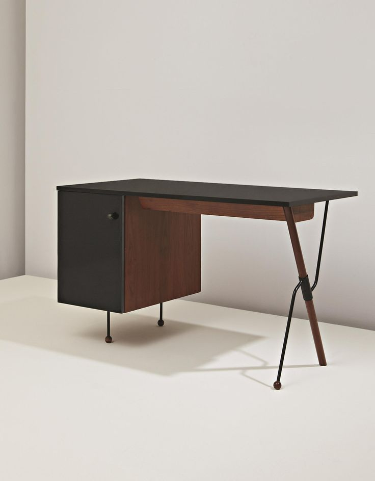 scandinaviancollectors:  GRETA MAGNUSSON-GROSSMAN, Desk, model no. 6200, ca. 1952. Plastic-laminated wood, walnut-veneered wood, painted tubular metal and painted metal. Manufactured by Glenn of California, USA. / Phillips