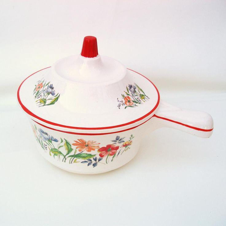 #Vintage #Ceramic Cookware #Saucepan Lidded USA Pottery #Skillet Floral Pot #Orange White #Kitchenware #midcentury