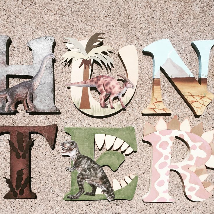 These wooden letters are customized to your needs, and in the case of these wood initials they are all about dinosaurs! Whether you are in the market for boys room decor, children's room décor, or just a set of wooden letters with a dinosaur theme, KidMuralsByDanaR will create something special just for you!  All of my dino initials are created using a combination of high quality wood, acrylic and spray paints, and card stock, and embellishments. If you would like to add a display ribbon to…