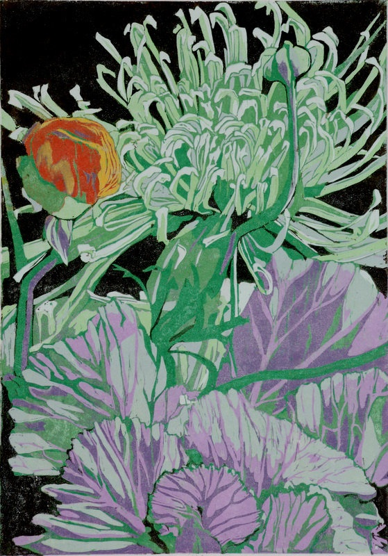 a beautiful example of reduction woodcut