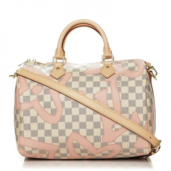 This is an authentic LOUIS VUITTON Damier Azur Tahitienne Speedy Bandouliere 30 in Rose Ballerine. This stylish tote is crafted of Louis Vuitton signature damier checkered canvas in blue and white with a fresh, feminine feel for summer with an overlaid surprising Monogram print adapted from the Louis Vuitton archives.