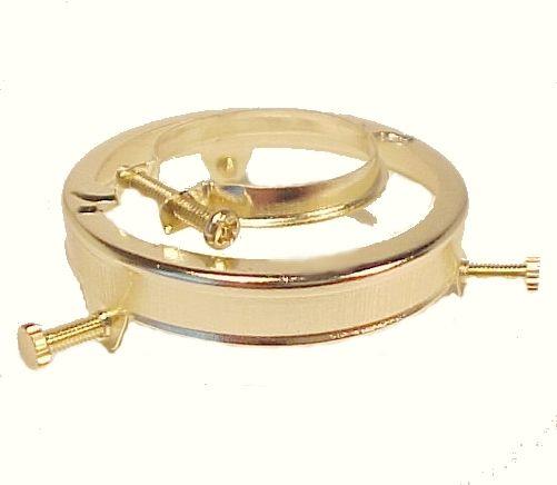 "Brass Plate Steel Clamp on 2 1/4"" Lamp Shade Holder for Metal Socket on Bridge Lamp or Pendant Light Fixture."