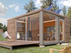 Baie vitrée et panneau solaire : la maison container passive