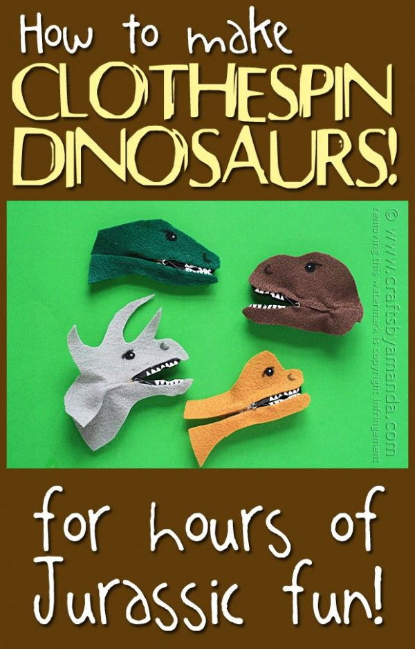 Clothespin Dinosaur Craft from Crafts by Amanda #craft #dinosaur