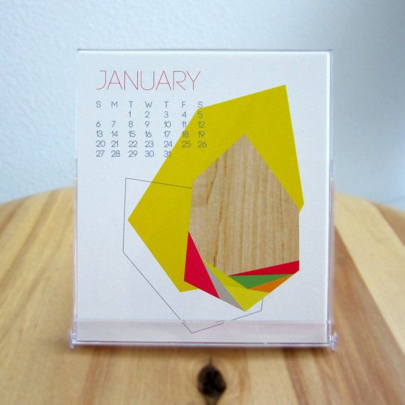 2014 Desk Calendar - Geometric monthly calendar -  Colorful - Modern - 12 unique designs