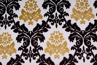 Mood Fabrics : New York Fashion Designer Discount Fabric | HV176 Natural/Chocolate/Gold Damask Chenille