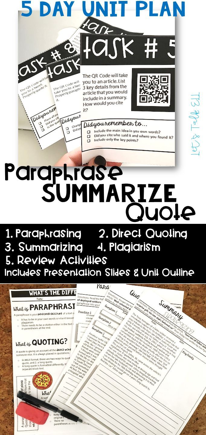 Secondary ELA academic writing resource | Paraphrasing summarizing and quoting including a plagiarism lesson. Engaging activities: graphic organizers, worksheets, handout and task cards. Slide presentation included. | Perfect for 6th 7th 8th 9th 10th grade writing students!