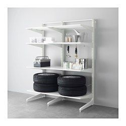 IKEA - ALGOT, Post/foot/shelves, The parts in the ALGOT series can be combined in many different ways and easily adapted to your needs and space.Can also be used in bathrooms and other damp indoor areas.You click the brackets into the ALGOT wall uprights wherever you want to have a shelf or accessory – no tools needed.