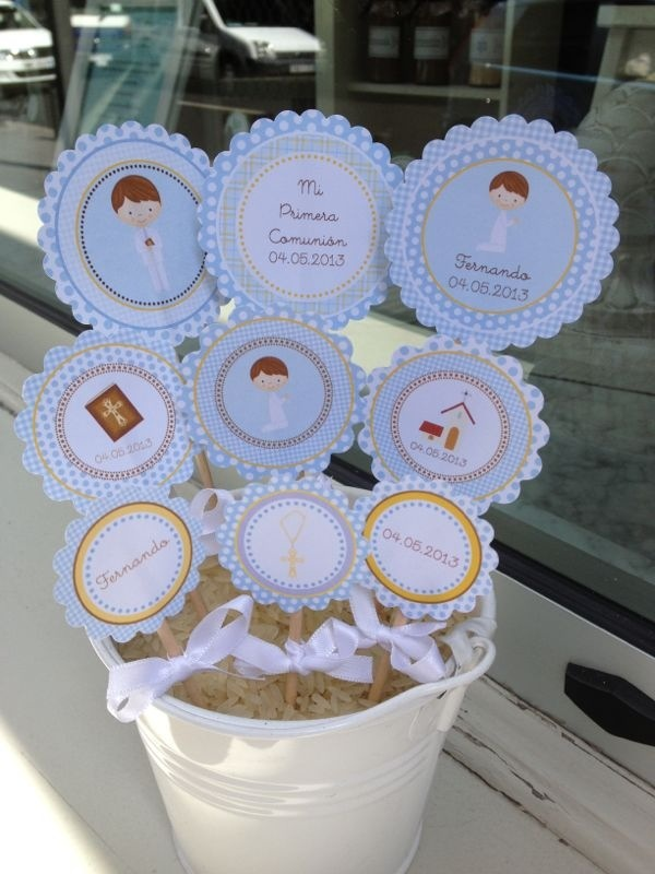 Toppers del Kit de Decoraciones Primera Comunión de Niño ::  Toppers from Boy's First Communion Party Kit