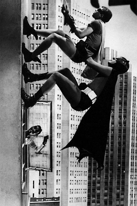 "Batman & Robin....really corny show, you can see when they are 'climbing', they are walking horizontal and just bend over and clear fishing line holds their capes out. But in the 60's it was pretty cool! ""Don't forget to tune in tomorrow, Same bat time...Same bat channel."""