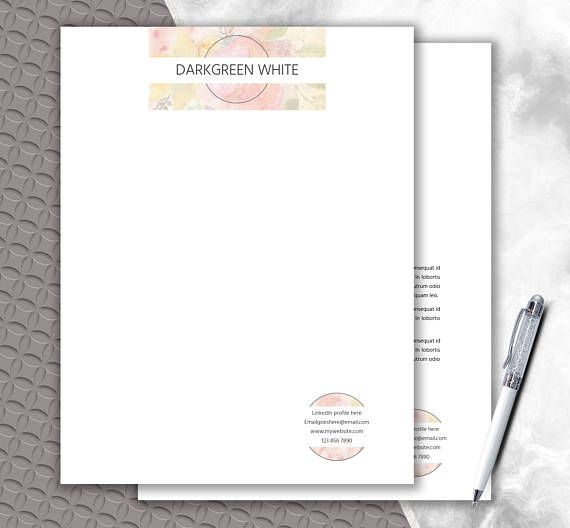 Floral Design Creative Letterhead Template  Watercolor