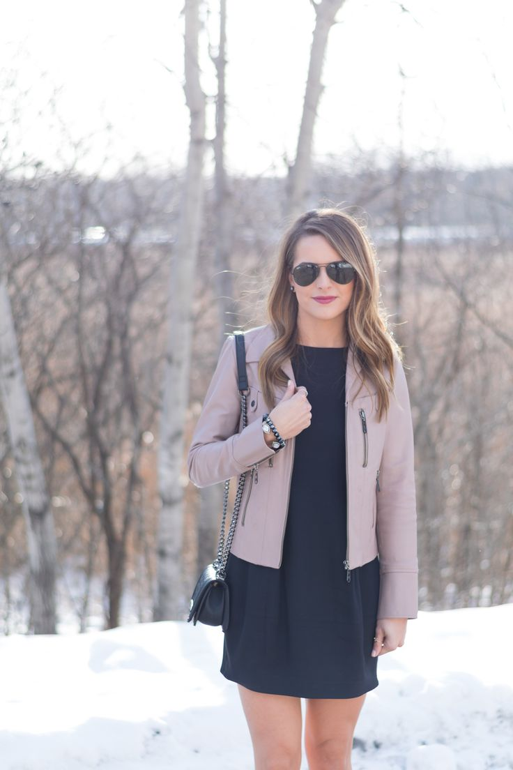Winter Wedding Guest Makeup : Winter Wedding Guest Outfit, Blush leather jacket, LBD ...