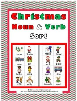Christmas Noun and Verb Sorting Activity This pdf file includes: ~ 12 noun cards with pictures and words (color & black and white) ~ 12 verb cards with pictures and words (color & black and white) ~ Noun and Verb Sorting Mats (color & black and white) ~ 1 Recording Sheet (black & white) ~ 1 Answer Key (black & white) The cards could be printed on card stock or photo paper and laminated for long-lasting durability.
