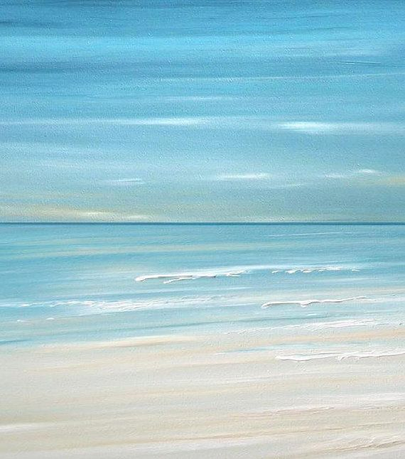 Blue Beach ocean coastal wave wall art painting by FradetFineArt, $40.00