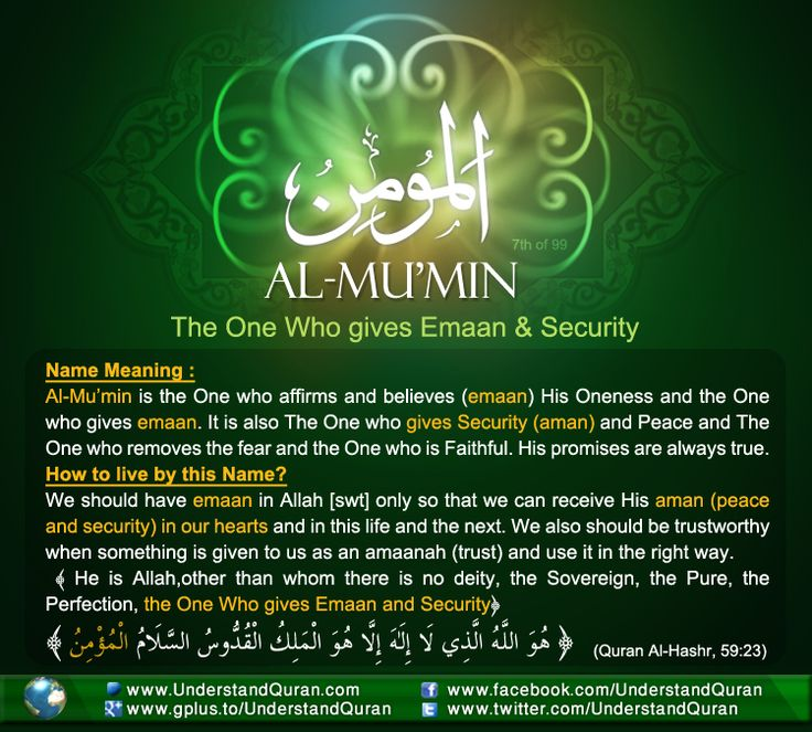 Name 7 Al Mumin And the Answer is . . . Al Mumin!