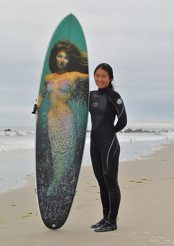 Surfer with her Surfboard