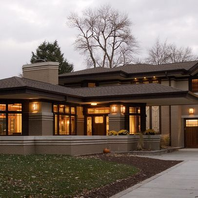 Prairie style home exterior prairiehome prairie for Prairie home plans frank lloyd wright