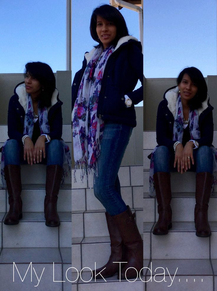 Winter look in vest, denims, leather boots combined with floral scarf by Lauré Eleganze!