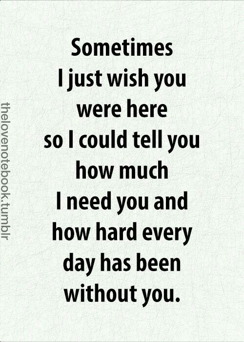 Sometimes I just wish you were here so I could tell you how much I need you and how hard every day has been