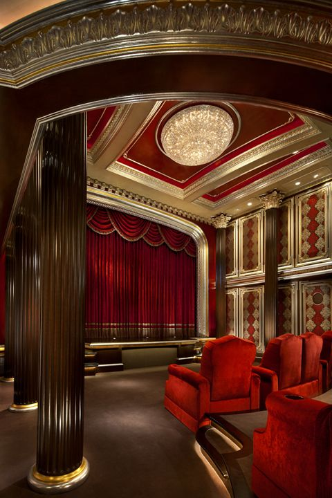 a velvet curtain hides the screen until the show begins in this glamorous home theater. beautiful ideas. Home Design Ideas