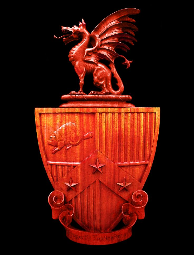 Woodcarving: Beta Theta Pi fraternity coat-of-arms, Mahogany