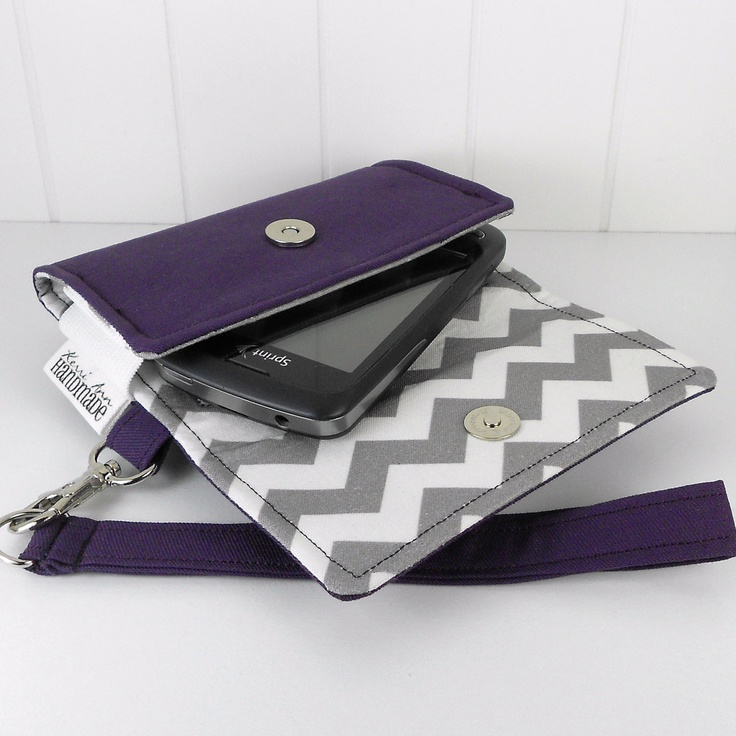 The Errand Runner - Cell Phone Wallet - Wristlet - for iPhone/Android - Eggplant/Chevron in Gray. $32.00, via Etsy.