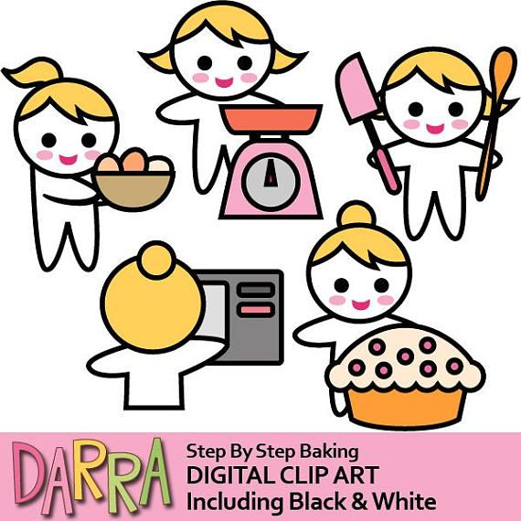 Planning sticker clipart / baking step by step / planner girl