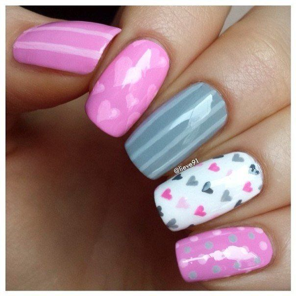 Beautiful nails, Colorful nails, Dating nails, Exquisite nails, Feminine nails, Heart nail designs, Long nails, Manicure on the day of lovers