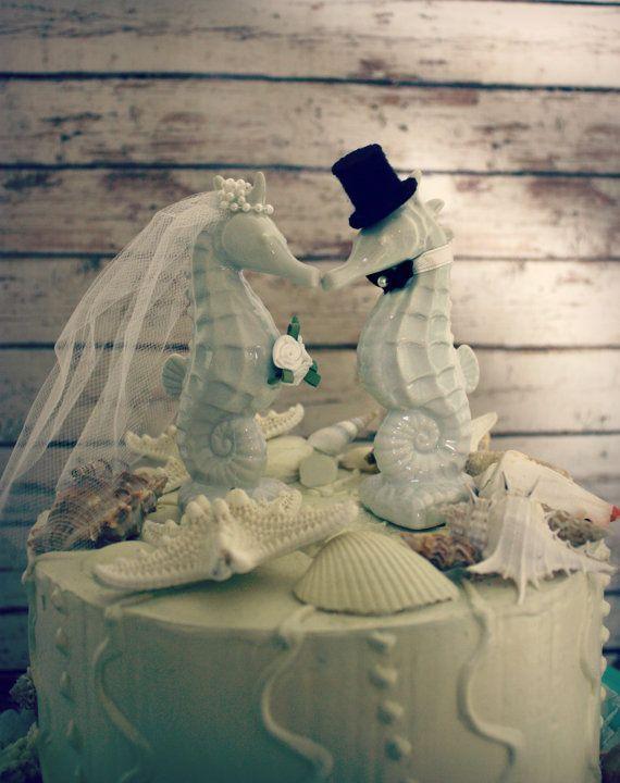Seahorse Kissing Wedding Cake Topper Beach Themed Picture cakepins.com