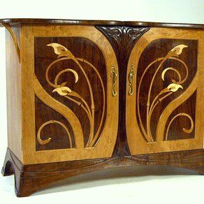 Art Nouveau Cherry and Walnut Sideboard by Louchheim Design Furniture