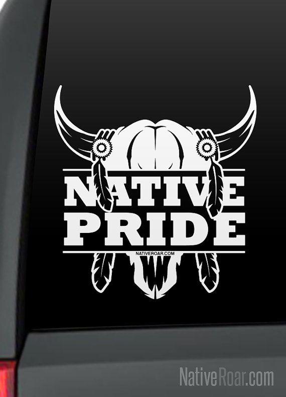 Native Pride Bull Skull Native American Decal Customize with Tribal Name  Native Pride  Bull