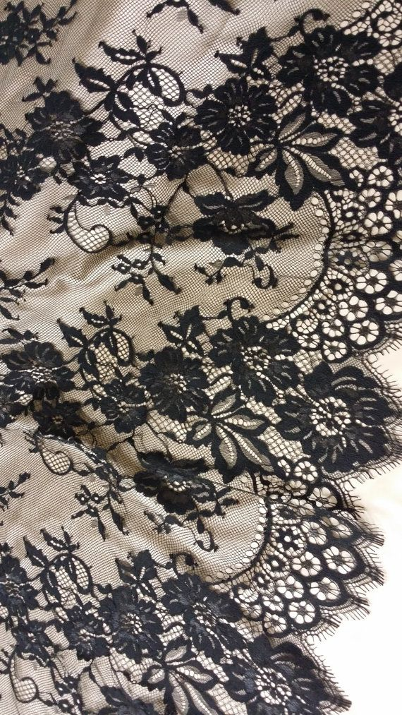 Black lace fabric Chantilly Lace French style lace by LaceToLove