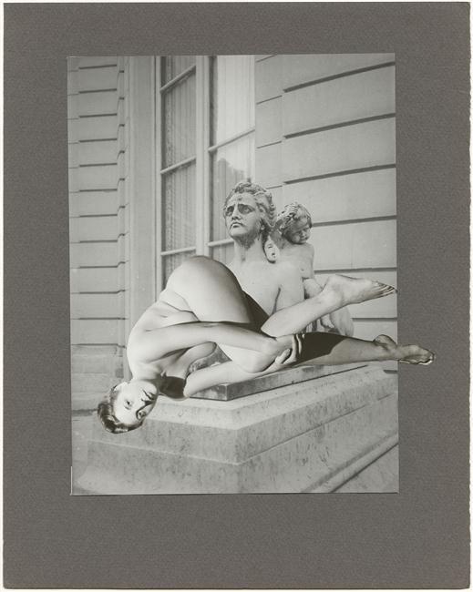 Marcel Bovis(1904-1997) . Nu féminin, buste masculin, façade d'hôtel particulier. Photomontage