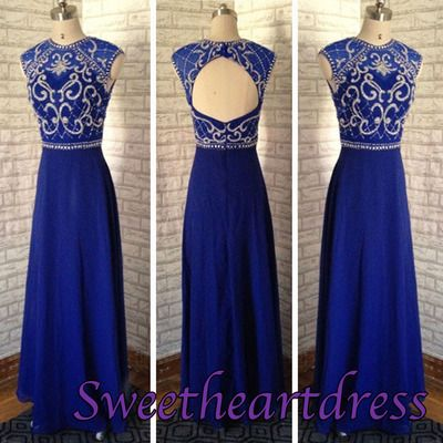 Vintage prom dress, navy blue chiffon junior prom dress, 2016 handmade round neck open back ball gown for teens sweetheartdress.s... #coniefox #2016prom