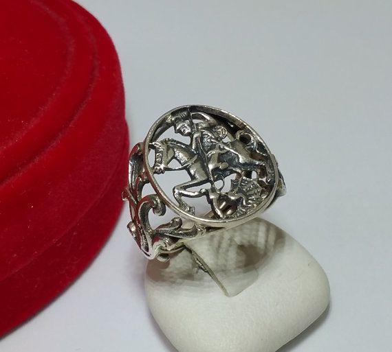 Nostalgischer Ring Rankenrelief Heiliger Georg von Schmuckbaron