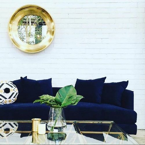 WA GlobeWest retailer Embassy Space added a touch of glamour to their floor recently with the Gus* margot sofa and GlobeWest Elle eiffel coffee table. #globewest #velvet #jeweltones #interior #decor #luxe #classic