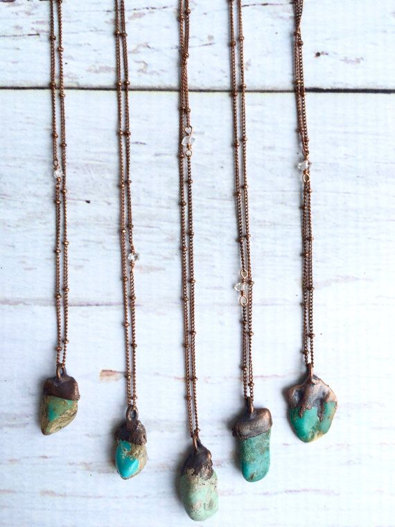 Turquoise nugget necklace Raw turquoise jewelry by HAWKHOUSE