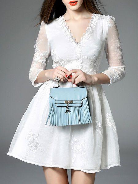 Appliqued Silk #Mini #Dress