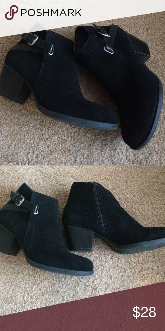 Black suede side zip boots Cute short boots with 2 1/4 inch heels Sonoma Shoes Ankle Boots & Booties