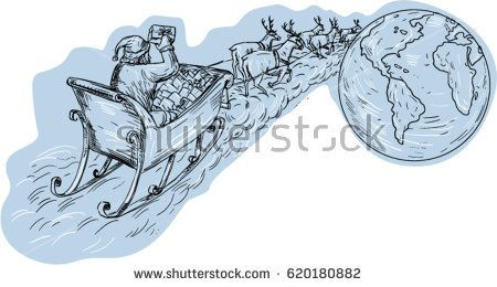 Drawing sketch style illustration of santa on a sleigh with reindeers delivering gifts aournd the world viewed from the rear.   #santaclaus #drawing #illustration