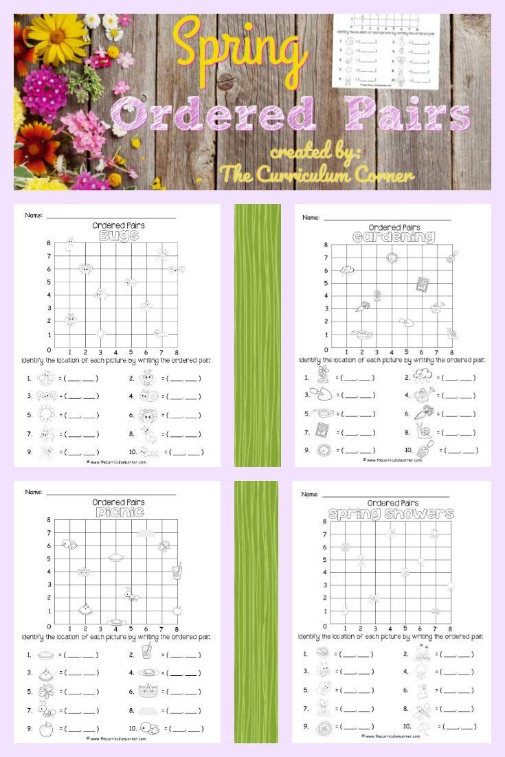 Spring Ordered Pairs Coordinate Grid Ordered Pairs Easter Math Worksheets Coordinate Grid