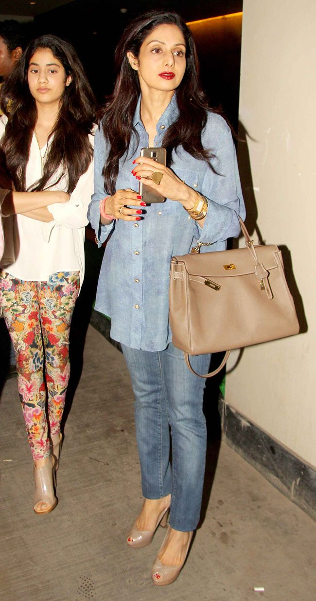 Sridevi and daughter Jhanvi at a screening of 'Fugly'. #Style #Bollywood #Fashion #Beauty
