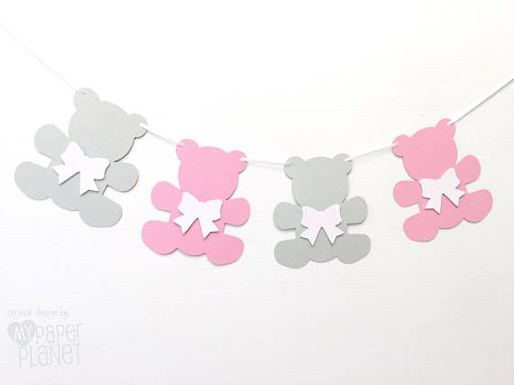 Teddy Bear Garland Pink and Light Grey. Bears & bows. Baby shower decorations.